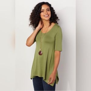 Soft Surroundings Green Timely Jersey Tunic
